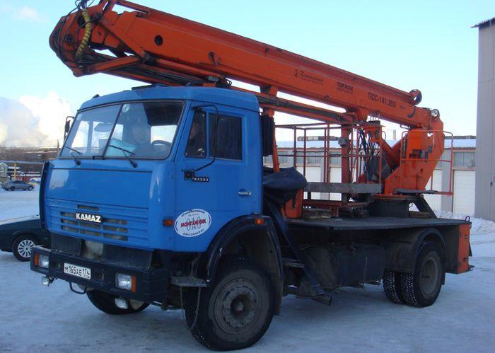 Автогидроподъемник ПСС-141.28Э (АПТ-28) на шасси КамАЗ-43253